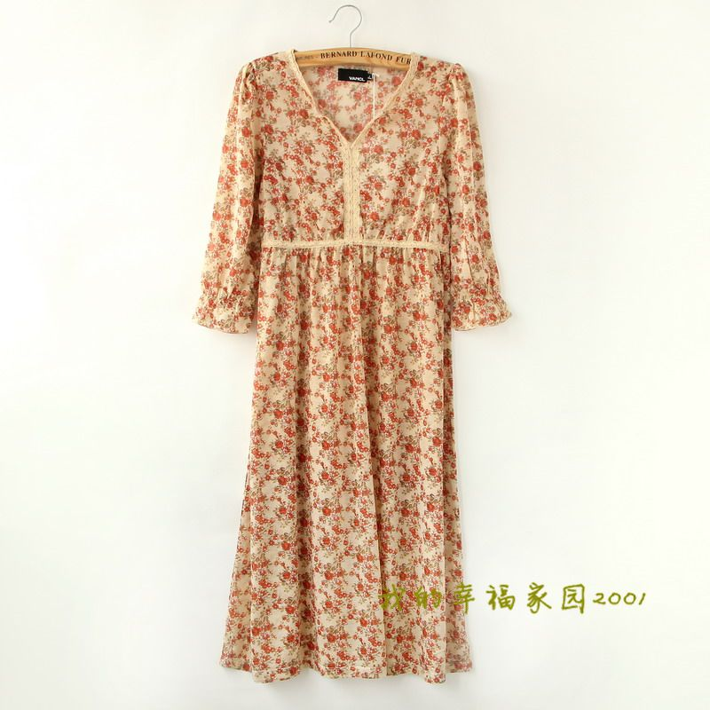 2-color floral mid sleeve dress with lace edge and loose pastoral one-piece dress 2014 Summer new womens wear