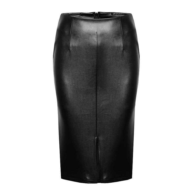 简设2015秋季新款中长款皮裙子女包臀裙PU皮半身裙高腰一步裙冬款