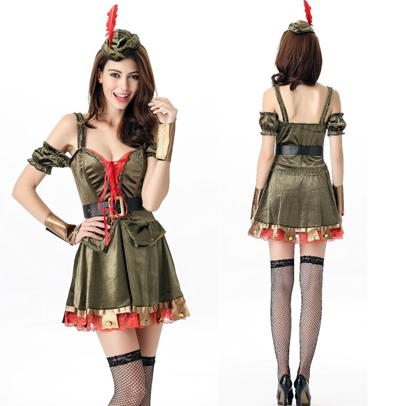 Halloween Costume Robin Hood role play female warrior green forest hero Cosplay sexy stage performance Costume
