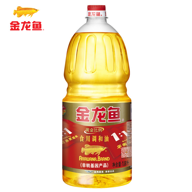 ~天貓超市~金龍魚 黃金比例食用調和油1.8L 桶 食用油 非轉基因