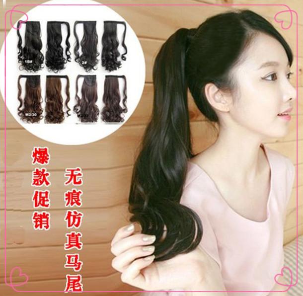 Специальные липучки парик хвост длинные волосы могут быть вытягиваны стелс большие высокой температуры проволоки хвост мешок почта