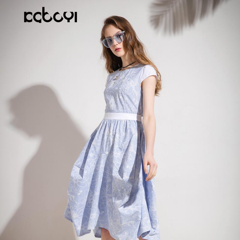 卡布依限量版原创设计师品牌女装夏季新品一字露肩印花长款连衣裙
