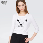 Linda 2015 spring new Qing bi ladies Kitty cropped shirt pullover look slimmer at the end of spring wool sweaters