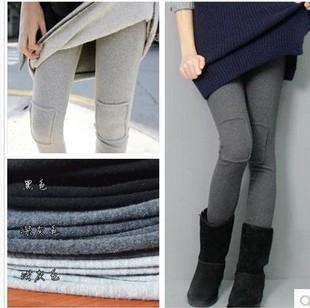 女 东大门同款 韩版 高品质磨毛加厚加绒棉质膝盖补丁贴布打底裤 包邮