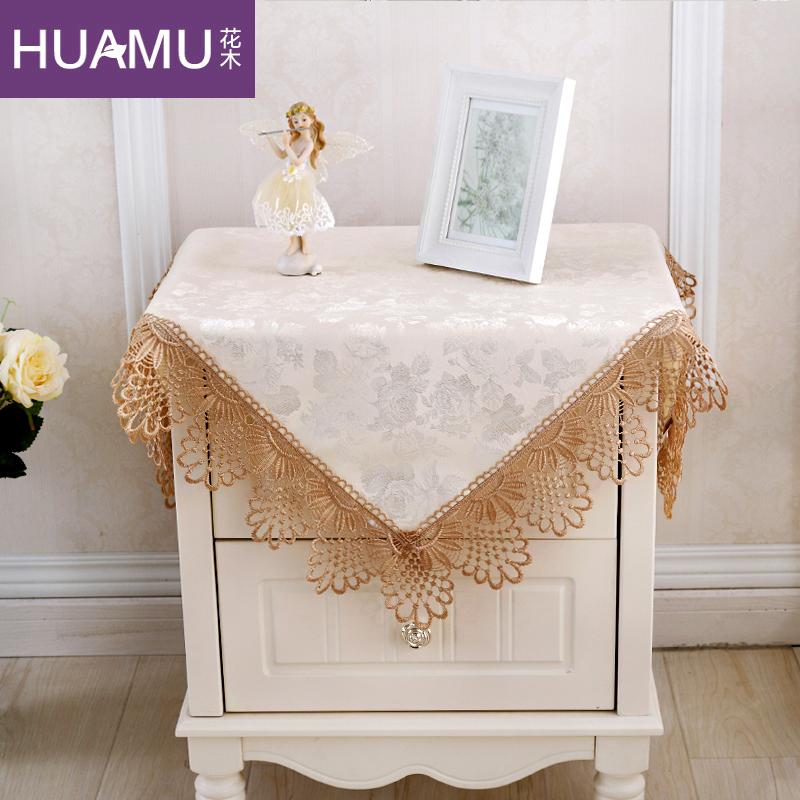 花木 蕾絲床頭櫃罩 歐式簡約冰箱空調電視機蓋布小桌布多用蓋巾