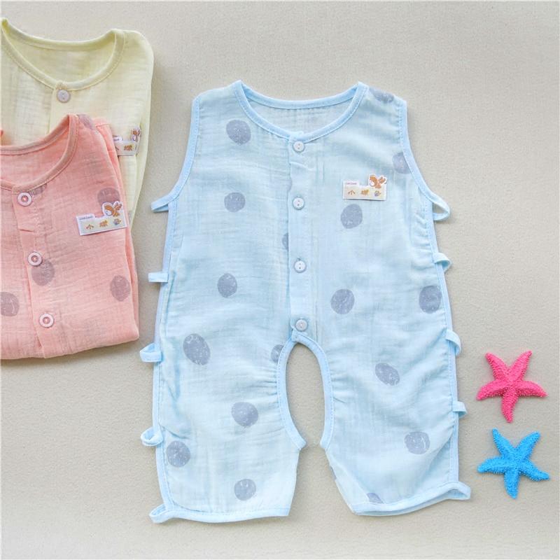 Baby cotton gauze bodysuit baby ultra thin ha clothes summer hollow Pipa bodysuit sleeveless short climbing suit