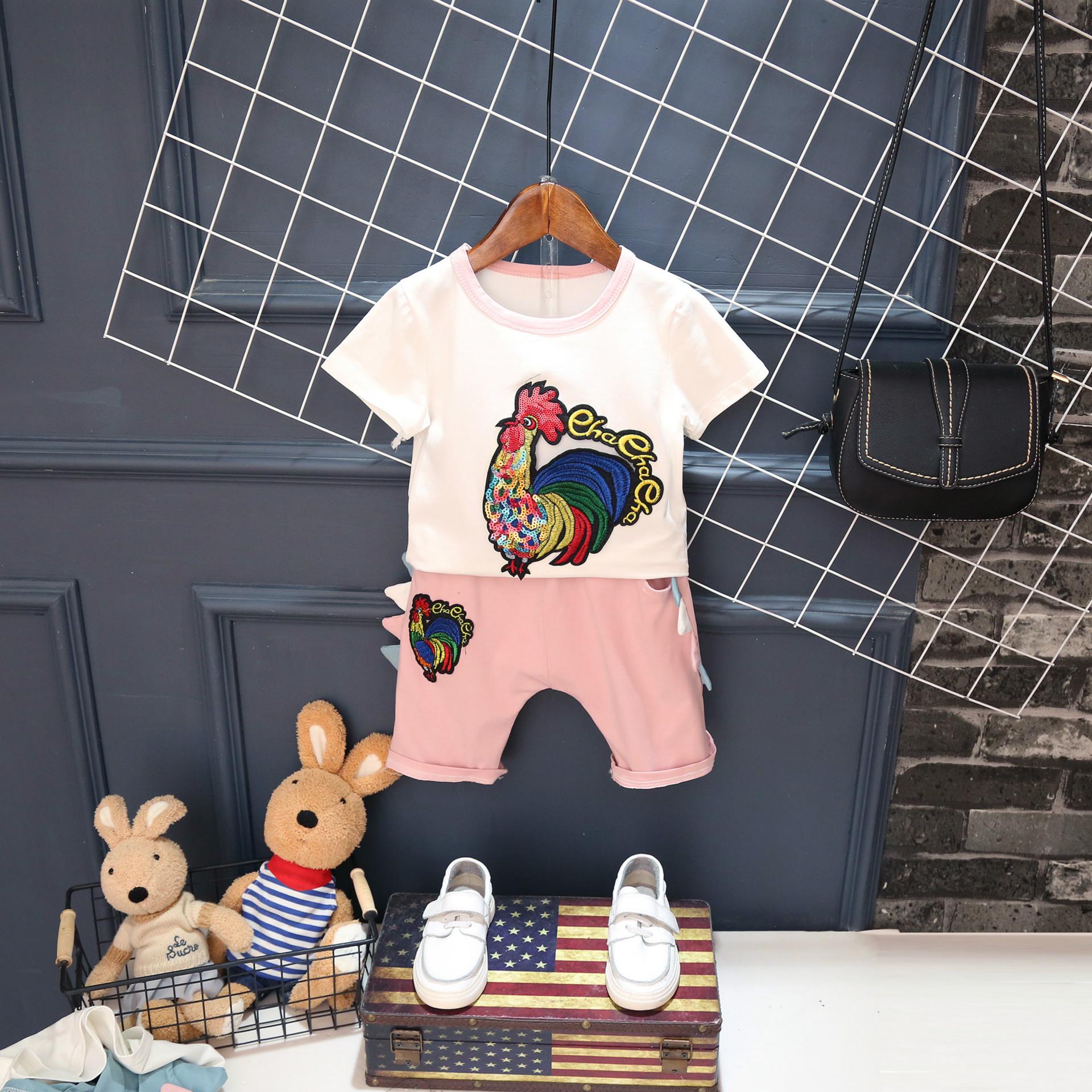 2017夏装新款男女童短裤套装潮2-7岁女童中小童夏季两件套H