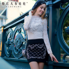 White-shirt Lady big pink dolls 2015 summer new style lace shirt slim fit shirts at the end of a Lotus Leaf tops