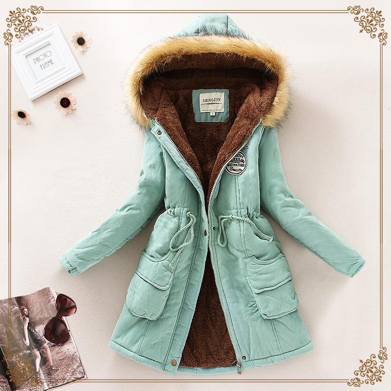 15 зимняя новая Корейская версия утолщаются с капюшоном длинной шерсти воротник куртки ягнят шерсти длинное пальто в хлопок платье пальто