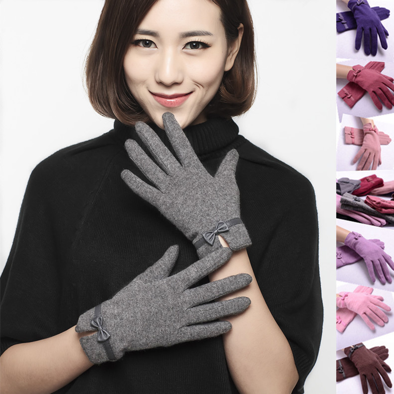 Autumn and winter new rabbit wool woolen gloves for women cycling lovely warm and cold proof bow to send mother package mail