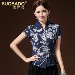 索芭朵夏装民族风短袖女复古大码汉服印花中式天丝上衣 改良唐装
