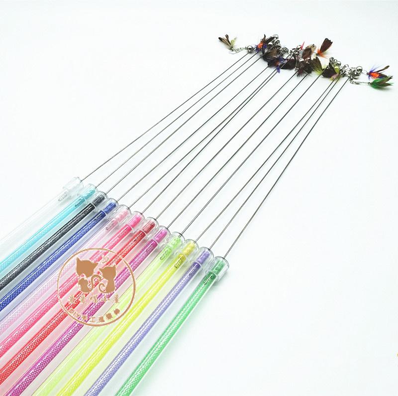 猫玩具diy手工制作斗逗猫棒简易可伸缩手柄带小飞虫替换头58包邮