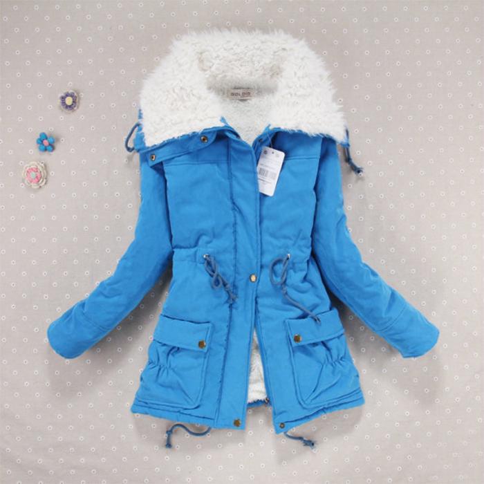 2014 зима новый стиль шнурок талии галстук обратно в корейской версии себе длинный толстый ягненка меховой куртки пальто хлопка