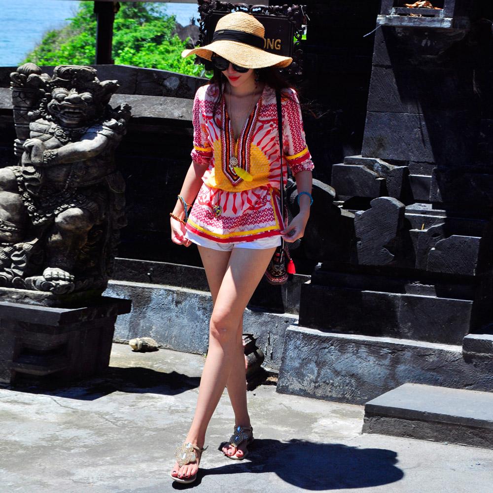 T-Baby欧美大牌民族风印花雪纺衫上衣中长款修身2018夏装新款女装