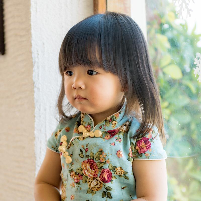 夏装新款儿童旗袍唐装 女童短袖连衣裙 棉麻中式复古宝宝裙亲子装