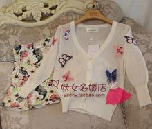 European 2015 high-end embroidered butterflies cardigan sweater female summer small shawl is prevented bask in air conditioning unlined upper garment to coat