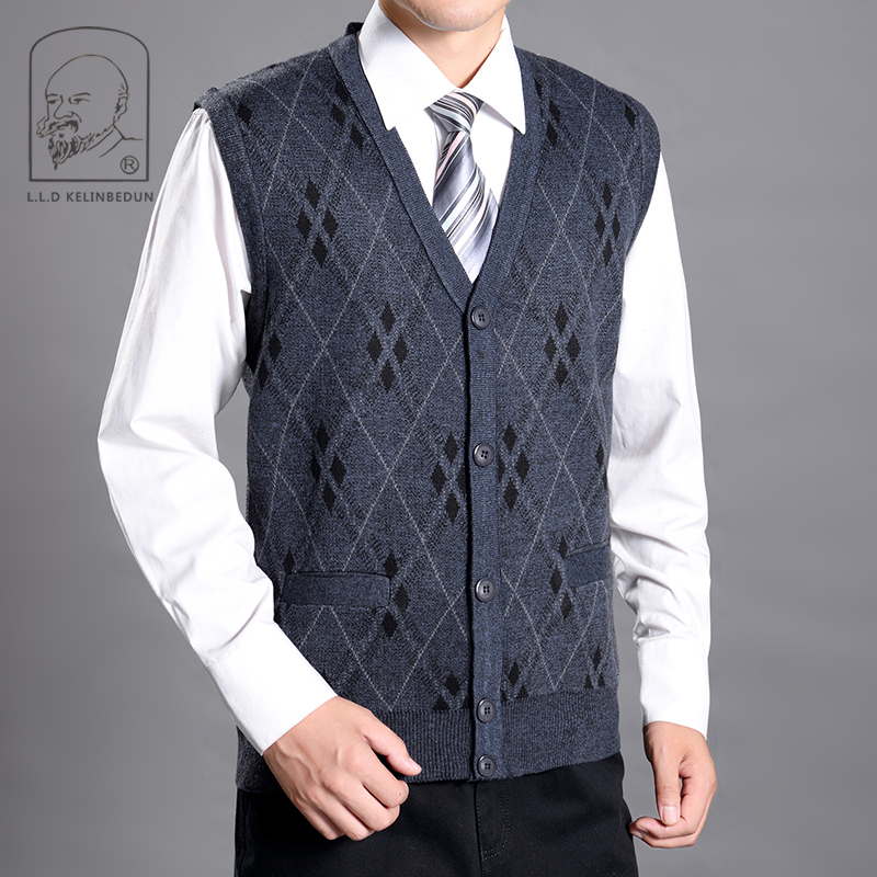 French senior middle aged and old mens waistcoat cashmere sweater sleeveless V-neck woolen vest cardigan jacket