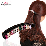 Smart new hair fashion female Austria rhinestone Barrettes banana clips issuing head fashion jewelry