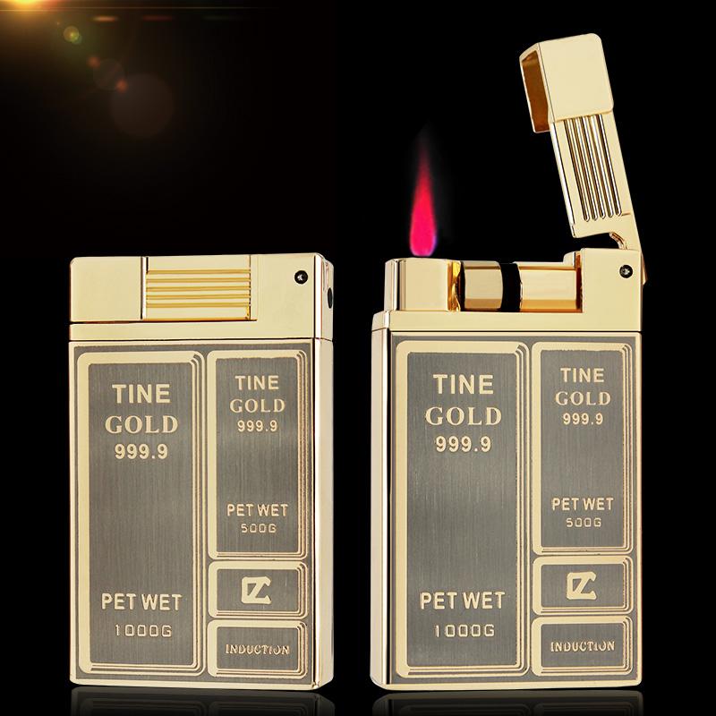 创意超薄金属防风直冲充气体打火机包邮金条触摸感应充气打火机