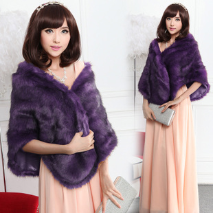 Autumn and winter bride wedding dress wool shawl white fox fur cape fur shawl female bridesmaid dresses