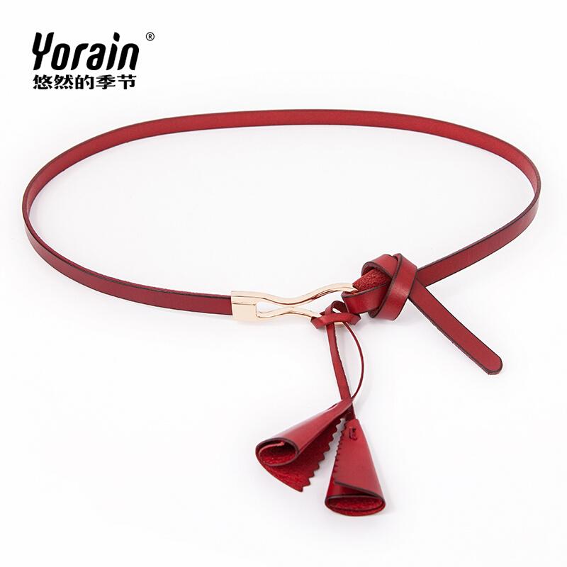 新品流蘇吊墜裝飾 女士細腰帶連衣裙女款腰鏈打結牛皮皮帶紅色