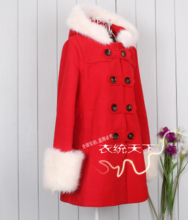 Broken code clearance autumn and winter 2015 red woolen coat fur collar wool woolen coat sleeve Korean version of straight type double breasted