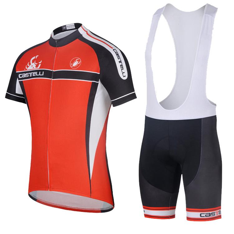 14CAS蝎子红色背带短袖骑行服套装男夏款 户外山地车服装新品促销