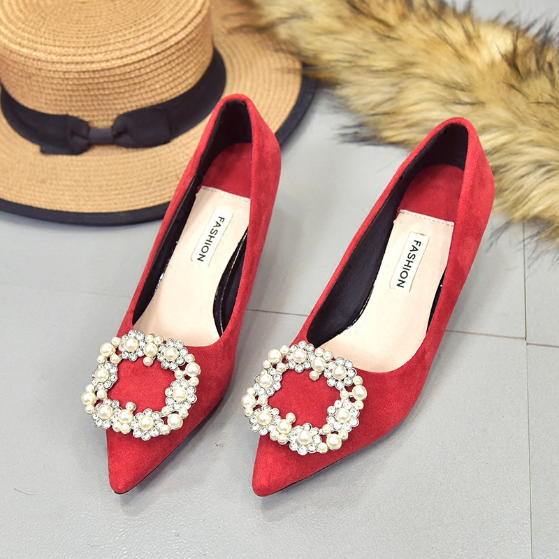 12月02日最新优惠2019新款水钻红色高跟鞋女结婚鞋子