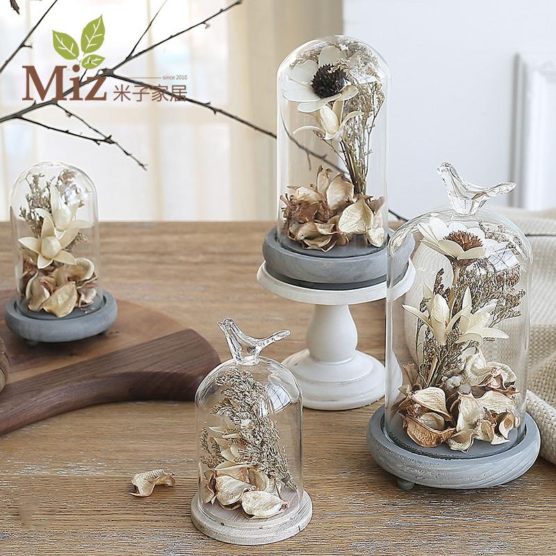 米子家居 簡約 客廳歐式桌麵擺件 玻璃罩整體裝飾品擺設