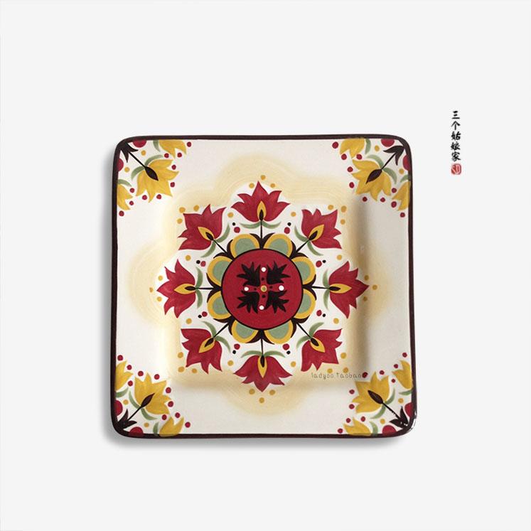 花之烟火西式餐具欧美陶瓷创意个性彩绘复古菜盘牛排盘正方形盘子