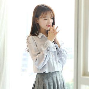2019春夏新款灯笼袖白色雪纺衬衫女长袖韩版宽松喇叭袖小清新上衣