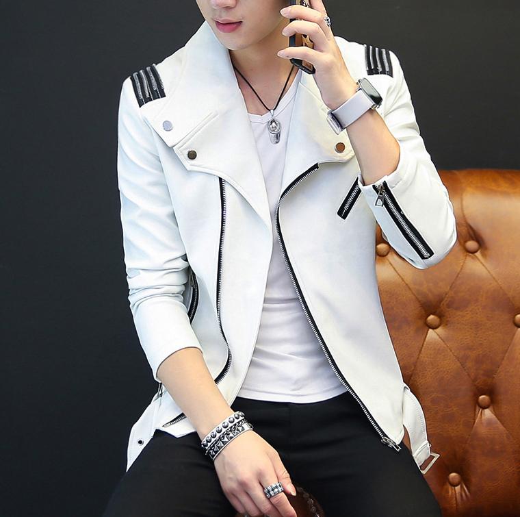 外套男春秋季男士皮衣夹克2017新款韩版修身型夹克青少年上衣服潮