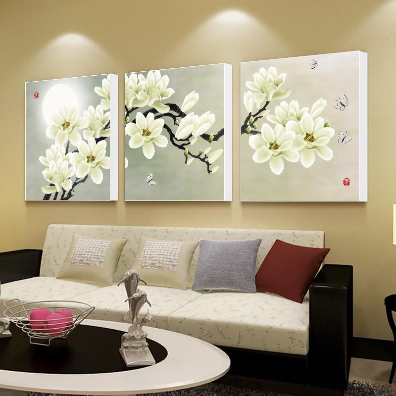 Гостиная декоративный живопись диван фон тройной живопись простой современный бескаркасный стена живопись фреска спальня прикроватный картины BI