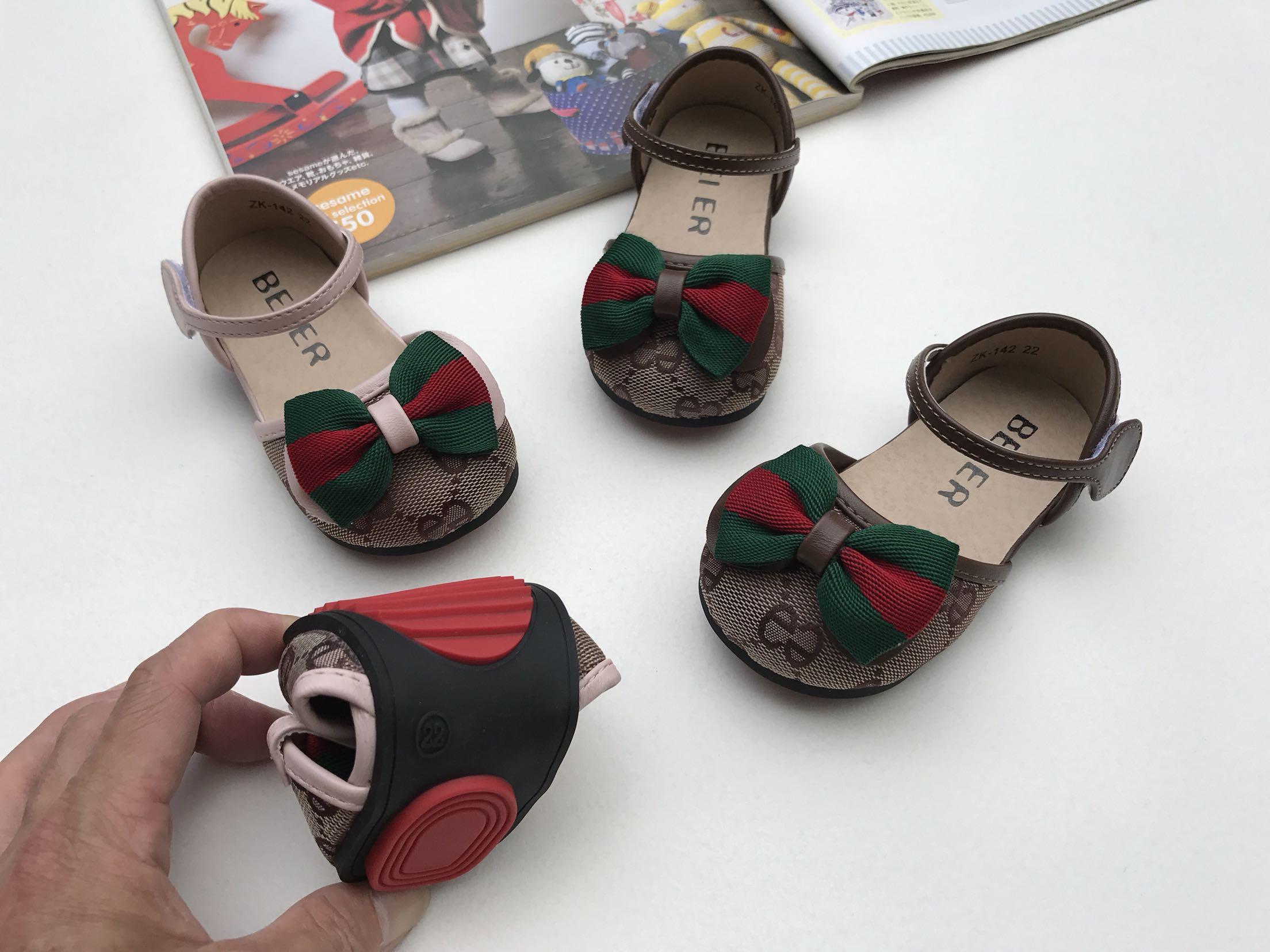 儿童半凉鞋2021女童公主鞋单鞋韩版蝴蝶结装饰防滑底宝宝学步鞋潮