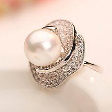 Silver KUQIQ female index finger ring couples buddhist monastic discipline food fashion Rose gold South Korea's big pearl