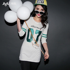 Seven space space OTHERMIX2015 spring in pinstriped new digital patch long cropped sleeve t-shirt woman