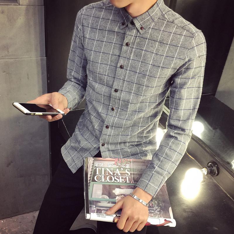 格子男士青少年襯衫