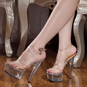 2020夏季新款女鞋 15cm/厘米超高跟凉鞋 性感全透明水晶细跟凉鞋