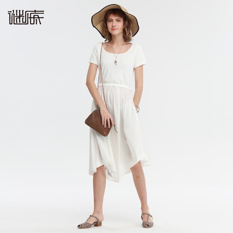 谜底女装夏装新款下摆不规则X型收腰连衣裙172ML0904