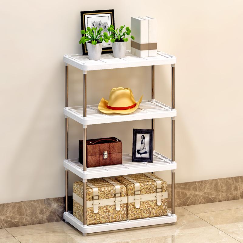 索爾諾置物架 廚房層架塑料落地收納儲物架 浴室客廳整理架子四層