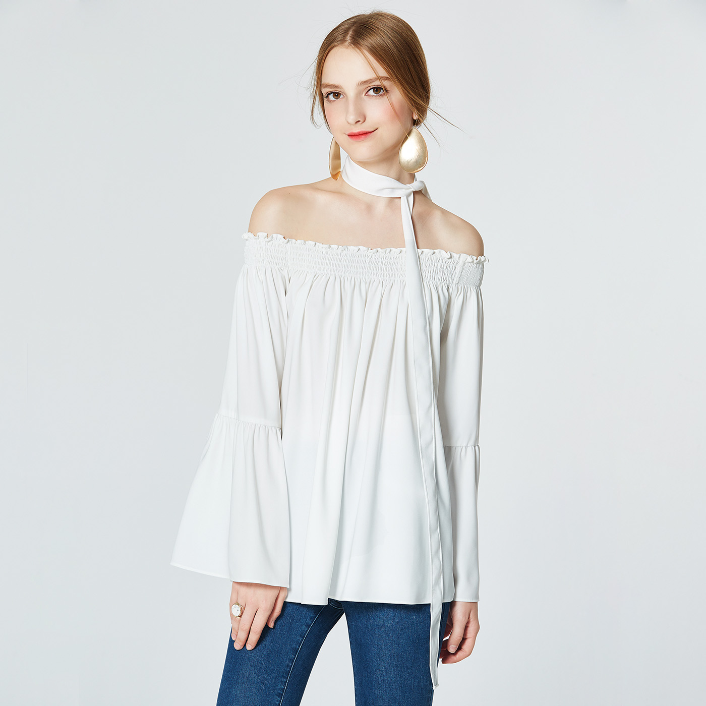 糖力春装新款欧美女装白色一领露肩荷叶袖上衣时尚百搭T恤