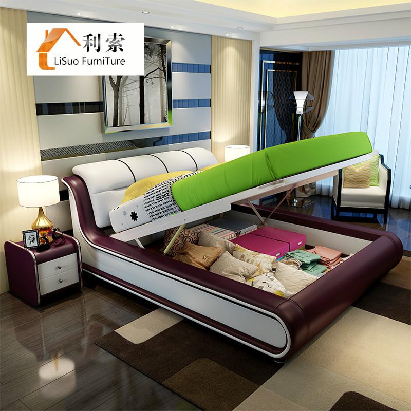 利索簡約 1.8米軟體床雙人床皮床真皮床婚床儲物床臥室