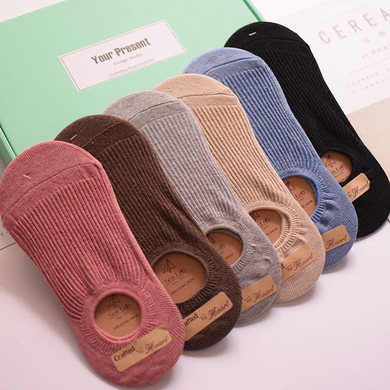 Ship socks, womens pure cotton, shallow mouth, invisible and thin, cant fall off in summer, with socks, candy colored socks, lovely and versatile in South Korea