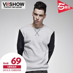 Viishow2015 spring and autumn new sweater sleeve splicing tide head t long sleeve grey letter sweater