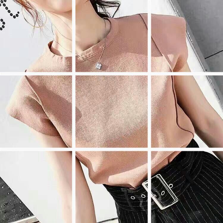 韓版針織背心女夏打底短款百搭外穿無袖t恤寬松短袖上衣