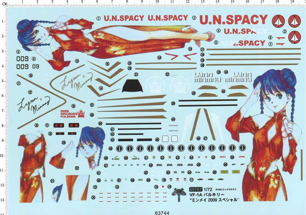 1 / 72 Space Fortress super time fortress vf-1a Mingmei pain machine model water sticker with Hasegawa