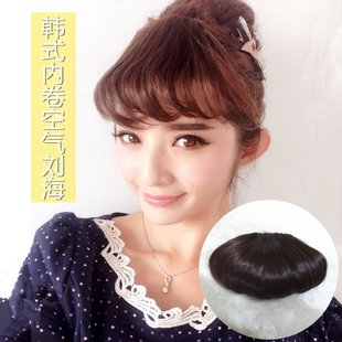 Fake bangs bangs retro air within the inner volume thin section Qi Liu wig bends effect