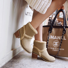 2015 new European style winter boots with round head rough in winter boots high heel boots female sleeve comfortable boots cotton boots