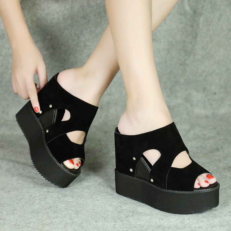 2020 summer new slope heel thick soled sandals womens muffin super high heel frosted Leather Sandals
