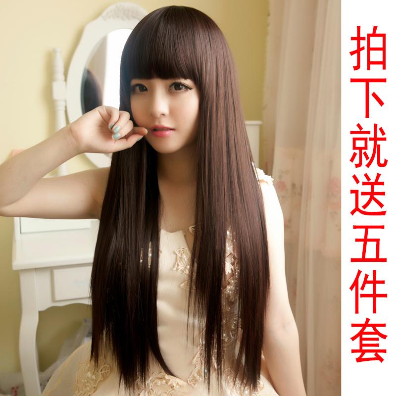 Ганьсу Лю Ци сладкий симпатичным лицом, девушка длинные прямые волосы парик действительно сделать реалистичные природных темперамент дамы парик длинные волосы